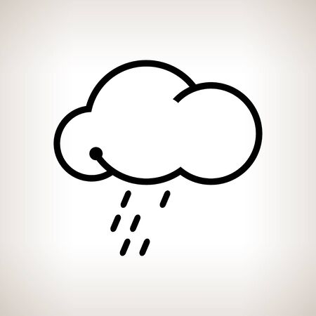 torrential rain: Silhouette cloud  with the rain  on a light background , black and white  illustration