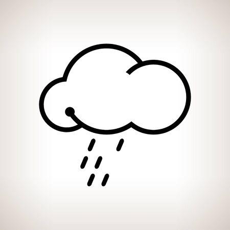 drench: Silueta de la nube con la lluvia sobre un fondo claro, ilustraci�n en blanco y negro Foto de archivo