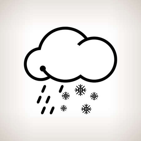 sleet: Sleet, cloud with snowflakes and rain  on a light background , black and white   illustration