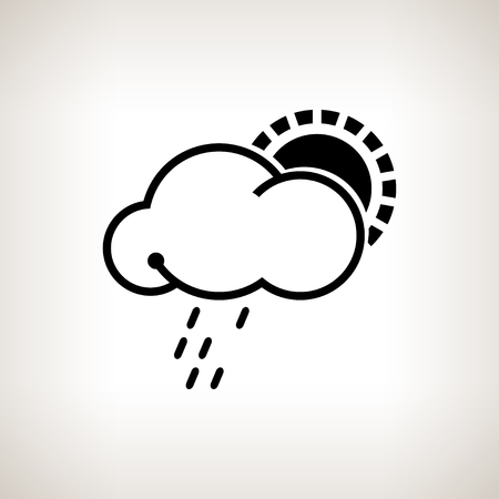 torrential rain: Silhouette cloud with sun and rain on a light background , black and white   illustration Stock Photo