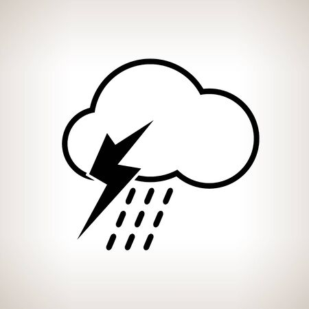 torrential: Silhouette thunderstorm,cloud with thunderstorm and rain on a light background , black and white   illustration
