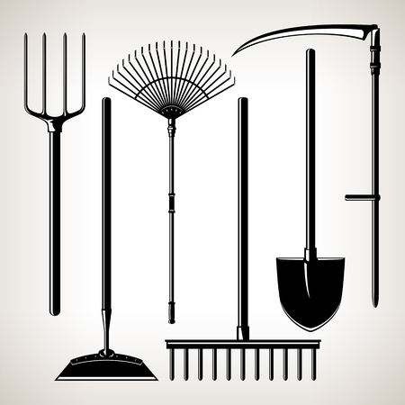 unearth: Set of Agricultural Tools, Isolated on a Light Background, Silhouette Garden Equipment , Black and White  Vector Illustration