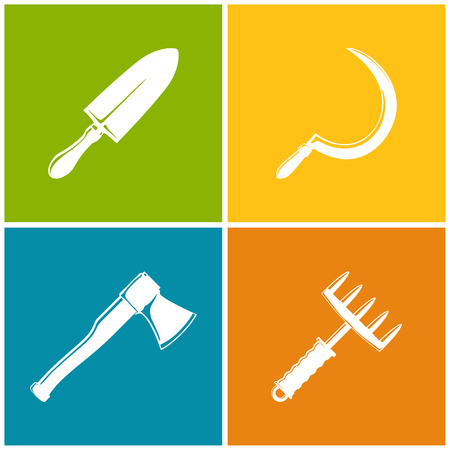 agricultural tools: Set of Colored Farming  Icons , Garden and Landscaping Tools , Icon Trowel , Icon Sickle , Icon Axe , Icon Hand Rake , Garden Equipment , Agricultural Tool  , Vector Illustration Illustration