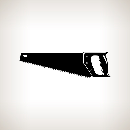 carpentery: Rip Saw , Silhouette a Crosscut Hand Saw on a Light  Background, Agricultural Tool Saw , Garden and Carpentery  Equipment, Black and White Vector Illustration Illustration