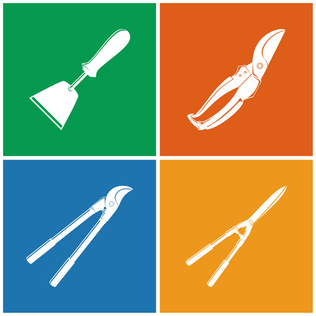 pruning: Set of Colored Farming  Icons , Garden and Landscaping Tools ,Icon Hand  Hoe, Icon Pruning Shear , Icon Loppers , Icon Garden Shears , Garden Equipment , Agricultural Tool  , Vector Illustration