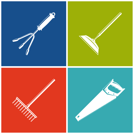 hayfork: Set of Colored Farming  Icons , Garden and Landscaping Tools , Icon Hand Rake , Icon Draw Hoe , Icon Bow Rake , Icon Rip Saw , Garden Equipment , Agricultural Tool  , Vector Illustration