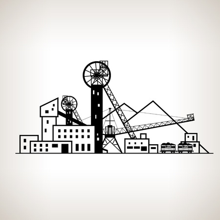 shaft: Silhouette complex industrial facilities with spoil tip and with rail cars, coal mine on the light background, black and white   illustration