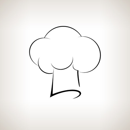 toque: Silhouette chefs  hat , chefs toque hat on a light background,  black and white  illustration Stock Photo