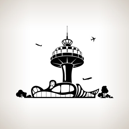 aerodrome: Silhouette control tower at the airport on a light background,  black and white  illustration