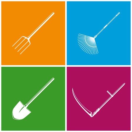 agricultural tools: Set of Colored Farming  Icons , Garden and Landscaping Tools , Icon Garden Fork , Icon Garden Leaf Rake , Icon Shovel , Icon Scythe , Garden Equipment , Agricultural Tool  , Vector Illustration