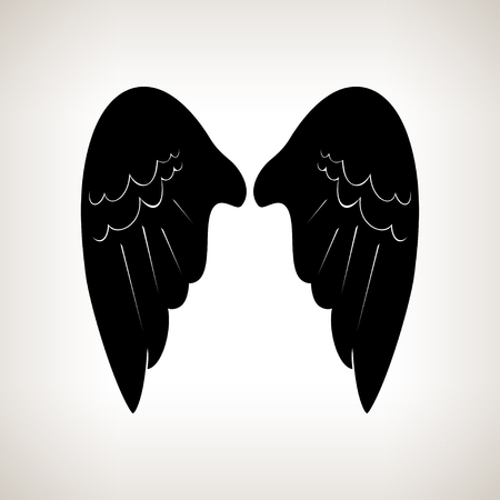 animal angelic: Silhouette wings on a light background,black and white  illustration