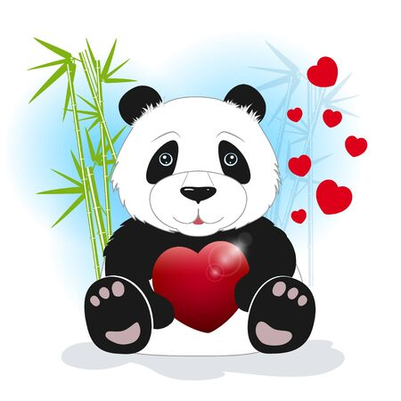 stalks: Panda sits among the bamboo and keeps the heart on a white background, behind bamboo stalks with hearts