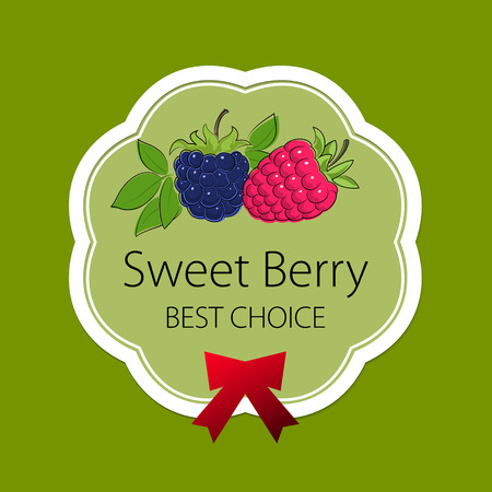 dewberry: Fruits Label on Green Background, Sweet Berry, Label with Raspberries and Blackberry, Fruit Concept,  Vector Illustration Illustration