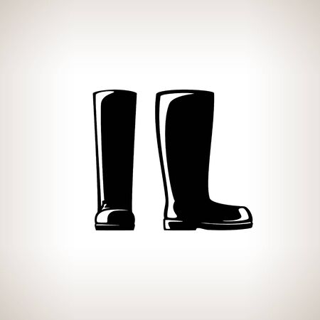 walk through: Working Rubber Boots for Working in the Garden, on the Farm, for Fishing, for Walking in the Forest, for Walk through the Puddles in the Rain,  Silhouette Boots, Work Shoes, Vector Illustration Illustration
