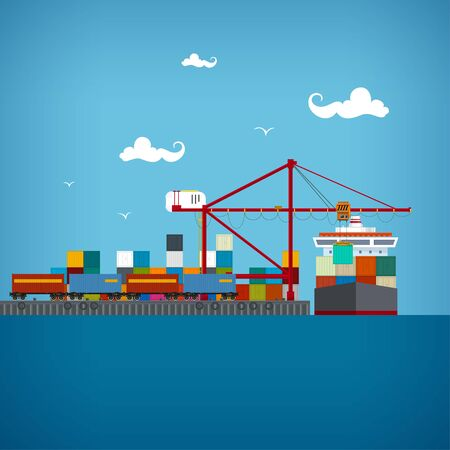 seaport: Sea port, unloading of cargo containers from the container carrier,cranes load containers on the container ship or unload, cargo the train transports containers , sea freight transportation