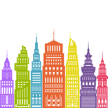 megapolis: Colorful Modern Big City with Buildings and Skyscraper, Architecture Megapolis, City Financial Center , Flat Design, Architecture Concept, Real Estate , Illustration
