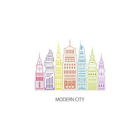 megapolis: Colorful Modern Big City with Buildings and Skyscraper, Architecture Megapolis, City Financial Center , Architecture Concept, Design Element, Emblem for Real Estate , Linear Style Design