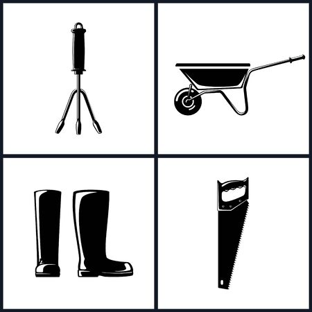 agricultural tools: Set of Agricultural Tool Icons, Garden and Landscaping Tools , Icon Hand Rake, Icon Working Rubber Boots , Icon Rip Saw , Icon Wheelbarrow , Garden Equipment ,  Black and White Illustration