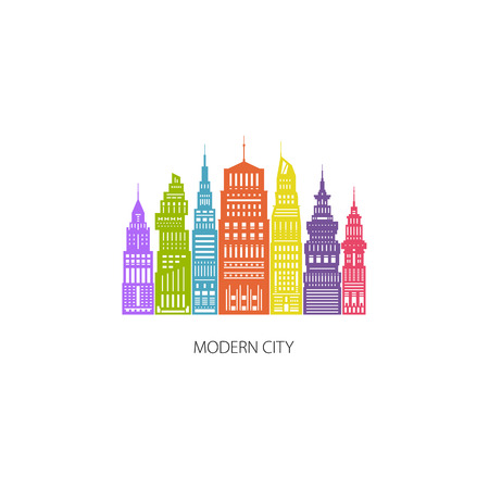 megapolis: Colorful Modern Big City with Buildings and Skyscraper, Architecture Megapolis, City Financial Center , Flat , Architecture Concept, Design Element, Emblem for Real Estate