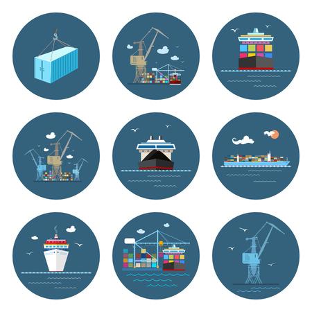 Jeu de Cargo Icons, Dry Cargo et Container Ship, Déchargement Containers à partir d'un navire de charge dans un Docks avec Cargo Crane, Récipient, Grue au port, Fret International, Vector