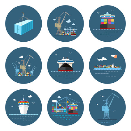 Set of Cargo Icons, Dry Cargo Ship and Container Ship, Unloading Containers from a Cargo Ship in a Docks with Cargo Crane, Container , Crane at the Port, International Freight Transportation, Vector Vettoriali
