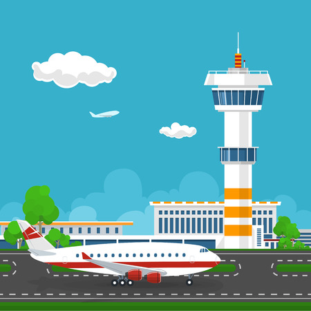 runway: Airport Terminal, the Plane on the Runway at the Airport ,  Airport  with Control Tower and Airplane ,Tourism Concept ,Vector Illustration