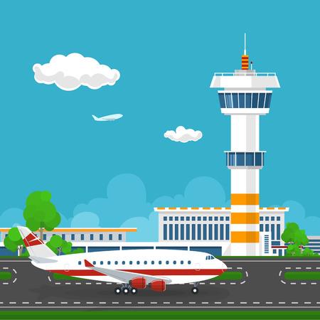 Terminal de aeropuerto, el avión en la pista en el aeropuerto, el aeropuerto con la torre de control y el avión, en concepto de turismo, ilustración vectorial