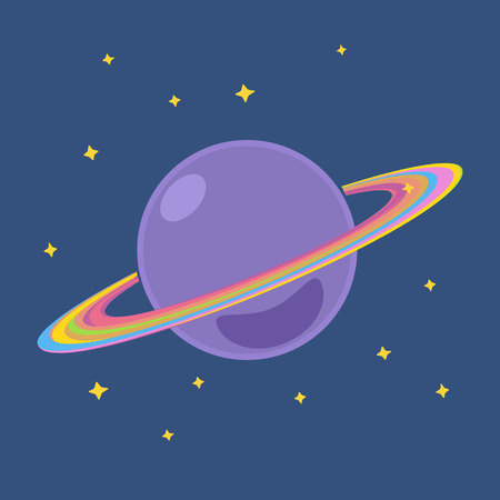 cosmo: Saturn, Planet with Stars in Outer Space, Design Element, Cosmic Background,  Vector Illustration Illustration