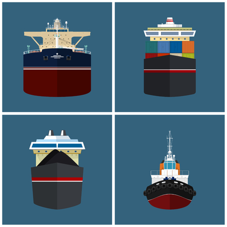 bulk: Front View of the Vessel, Cargo Container Ship, Oil Tanker, Dry Cargo Ship, Tugboat,   International Freight Transportation, Vessel for the Transportation of Goods, Vector Illustration