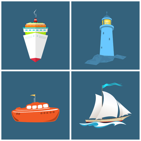 lifeboat: Front View of the Cruise Ship ,Lighthouse,  Sailboat , Lifeboat, Vessels and the Lighthouse, Vector Illustration