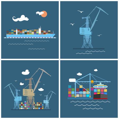 dock: Cargo Icons, Container Ship, Crane at the Port, Unloading Containers from a Cargo Ship in a Docks with Cargo Crane, Containers and  Cranes at the Dock, International Freight Transportation, Vector Illustration