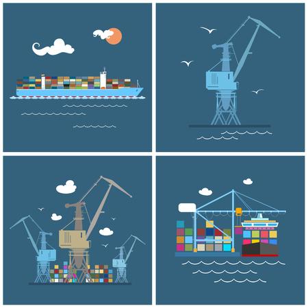 Cargo Icons, Container Ship, Grue du port, le déchargement des conteneurs à partir d'un navire de charge dans un Docks avec Cargo Crane, conteneurs et grues du Dock, Fret International, Vector