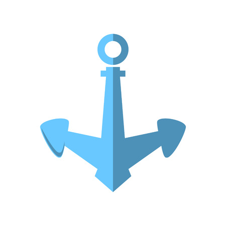 mooring anchor: Blue Anchor Isolated on White, Flat Design ,Ship Equipment, Vector Illustration