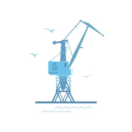 Marine Dockside Crane, Port Cargo Crane Isolated on White, Vector Illustration