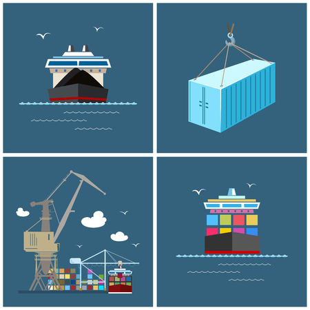 unloading: Cargo Icons, Container Ship, Dry Cargo Ship, Unloading Containers from a Cargo Ship in a Docks with Cargo Crane, Container, International Freight Transportation, Vector