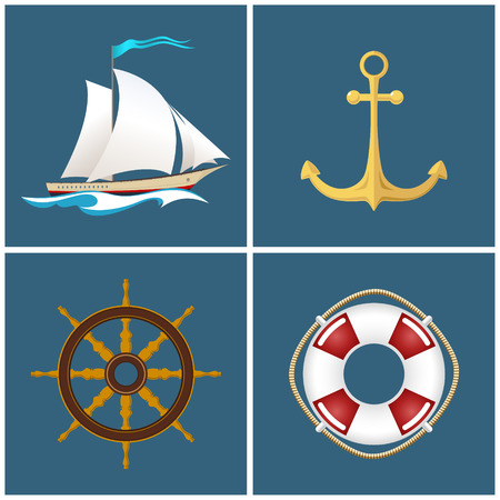 nautical vessel: Set of Marine Icons , Sailing Vessel and Anchor, Ship Wheel and Lifebuoy , Nautical Symbol, Sailboat and Ship Equipment, Vector Illustration