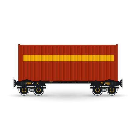 boxcar: Container, Red Container on Railroad Platform, Railway and Container Transport,  Platform with Container Isolated on White, Vector Illustration Illustration