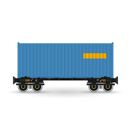 boxcar train: Container, Blue Container on Railroad Platform, Railway and Container Transport,  Platform with Container Isolated on White, Vector Illustration