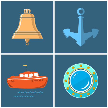 lifeboat: Set of Marine Icons , Ships Bell and Anchor, Lifeboat and Porthole, Vector Illustration