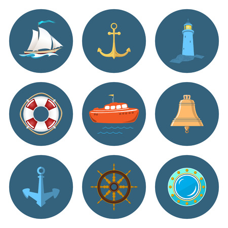 nautical vessel: Set of Marine Icons , Sailing Vessel and Anchor, Ship Wheel and Lifebuoy , Lifeboat and Porthole, Ships Bell and Lighthouse, Nautical Symbol, Ship Equipment, Vector Illustration