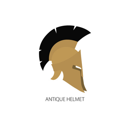 horsehair: Antiques Roman or Greek Helmet Isolated on White, Helmet with a Crest of Feathers or Horsehair with Slits for the Eyes and Mouth, Logo Design Element, Vector Illustration Illustration