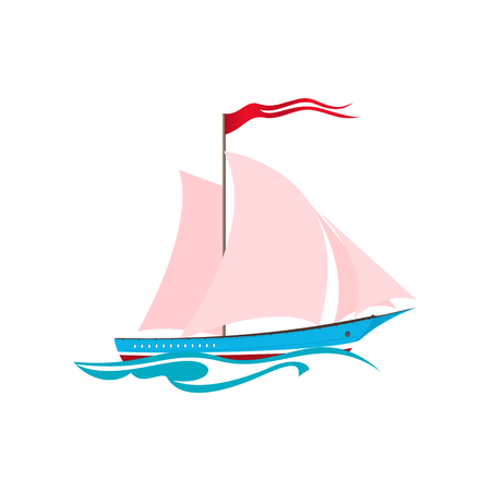 yacht isolated: Yacht on the Waves, Sailing Vessel Isolated on White, Travel Concept , Vector Illustration