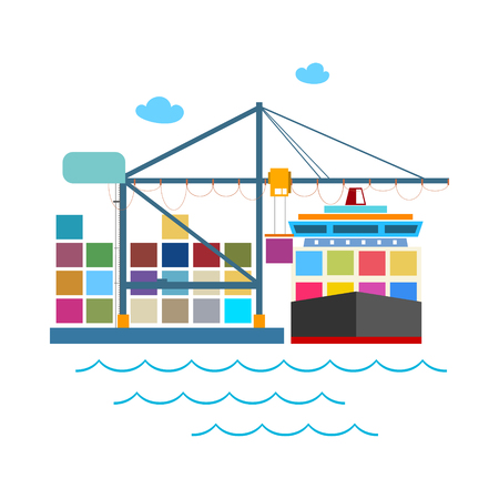 Cargo Container Ship at the Dock Isolated on White, Unloading Containers from a Cargo Ship in a Seaport with Cargo Crane, International Freight Transportation, Vector Illustration