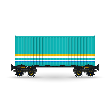 boxcar: Container, Green Container on Railroad Platform, Railway and Container Transport,  Platform with Container Isolated on White, Vector Illustration Illustration