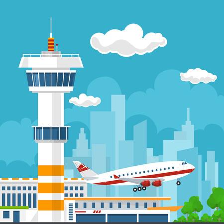 Vliegtuig stijgt op vanaf het vliegveld, Control Tower en vliegtuig op de achtergrond van de stad, Reizen en Toerisme Concept, Air Travel en Vervoer, Vector Illustratie