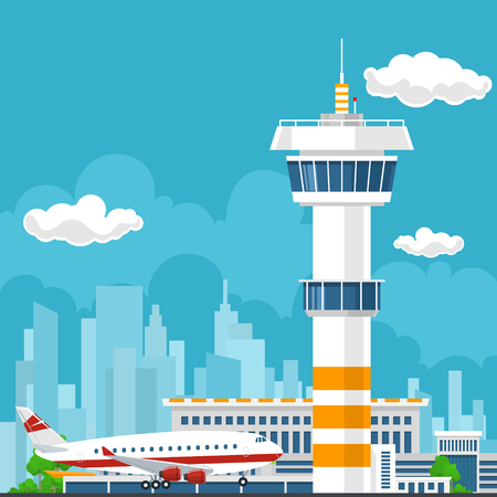 aerodrome: Arrivals at Airport, Control Tower and Airplane on the Background of the City, Travel and Tourism Concept , Air Travel and Transportation, Vector Illustration