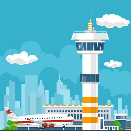 Gli arrivi in ??aeroporto, Torre di controllo e aereo su sfondo della città, Turismo Concept, Air Travel e Trasporti, illustrazione vettoriale Vettoriali