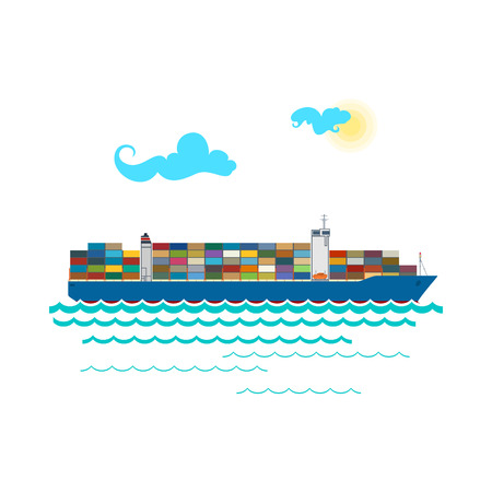 Contenedor de carga de la nave aislada en blanco, Embarcación marina industrial con contenedores a bordo, Transporte de carga Internacional, ilustración vectorial