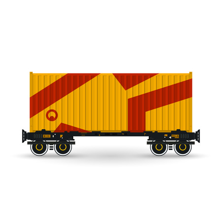 haulage: Container, Orange Container on Railroad Platform, Railway and Container Transport,  Platform with Container Isolated on White, Vector Illustration