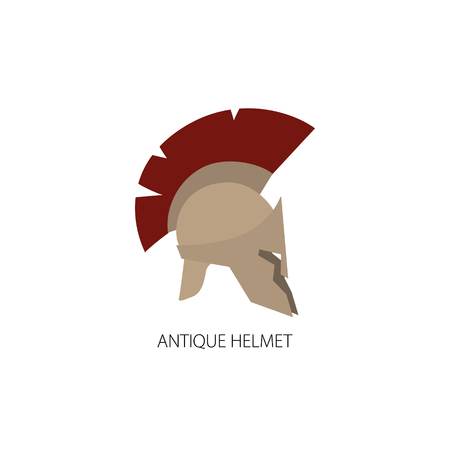 antiques: Antiques Roman or Greek Helmet Isolated on White, Helmet with a Dark Red Crest of Feathers or Horsehair with Slits for the Eyes and Mouth, Vector Illustration